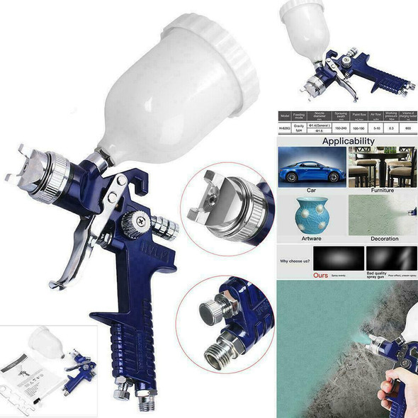 120ml HVLP Air Spray Gun Auto Paint Car Detail Up Base Gravity Repair Z1O3