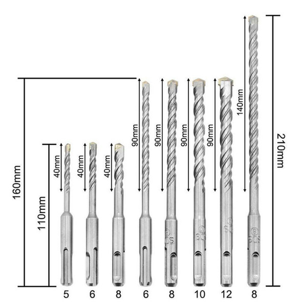 8pcs SDS PLUS Electric Hammer Drill Bits for Masonry Concrete Rock Stone T ANW
