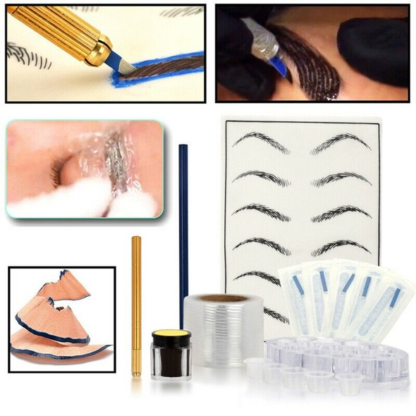 Eyebrow Embroidered Eyebrow Kit Manual Tattoo Pen Paint Needle Practice Ski X4J7