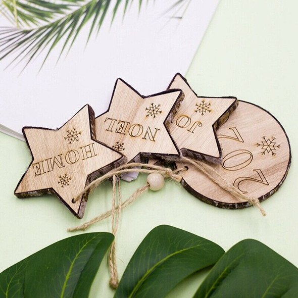 20Pcs/Set Letters and Snowflake Engraved Wooden Christmas Pendants Decorati A6O2