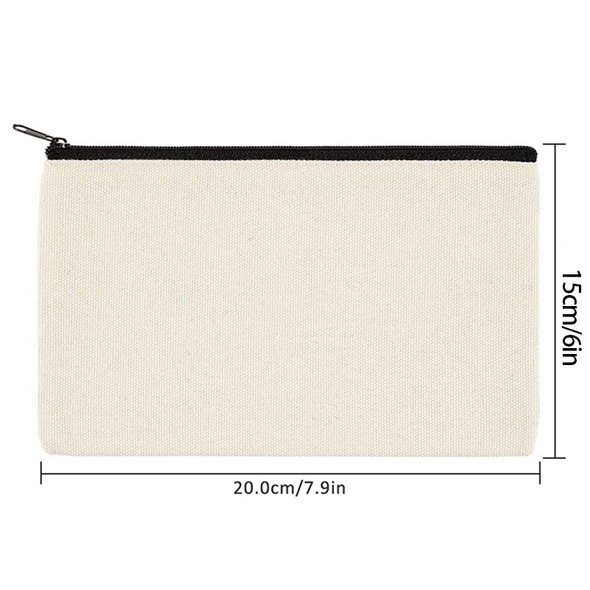 12 Pack Canvas Zipper Bags, Blank DIY Craft Pouches for Travel Cosmetic Mak P2G9