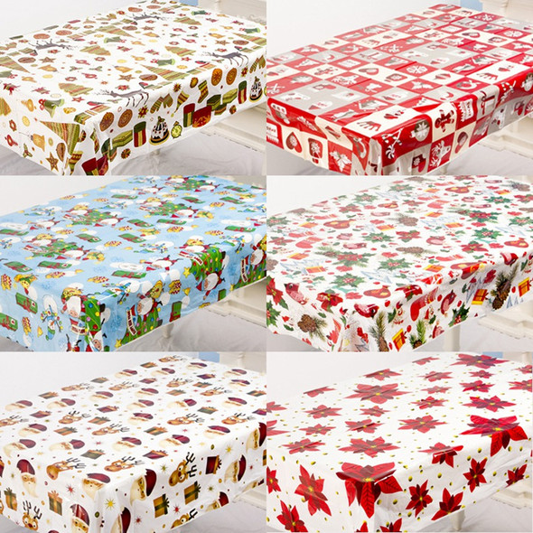 6Pcs Colorful Christmas Pvc Disposable Table Runner Printed Tablecloth Tabl P8S5