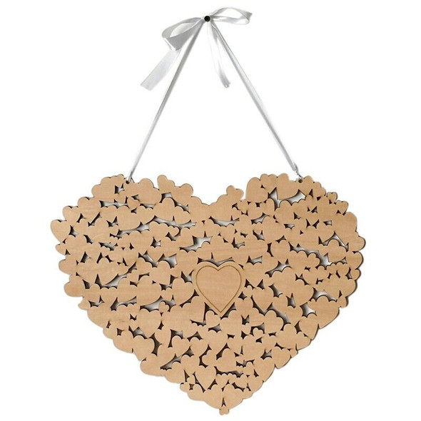Wooden Heart Shaped Wedding Message Board, Wedding Bookmarks, Wedding Guest A4X2