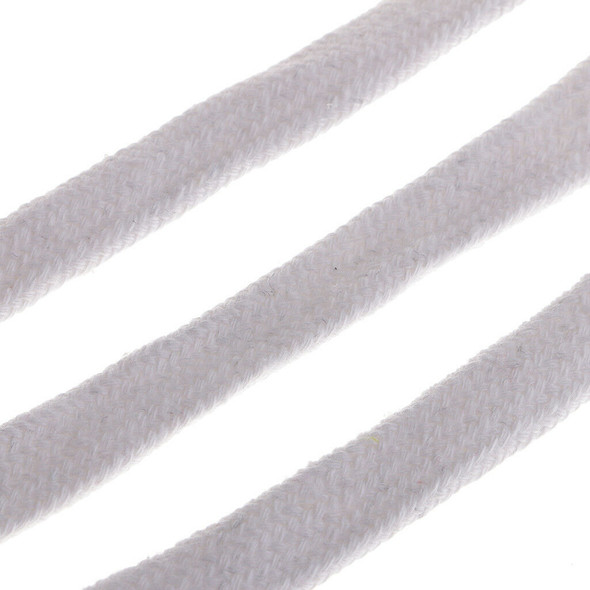 Braided Cotton Flat Cord Drawcord String for Sweater Hat Pants Belt White