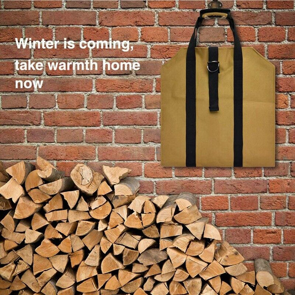 Large Canvas Log Tote Bag Carrier Indoor Fireplace Firewood Totes Holders F B7E1