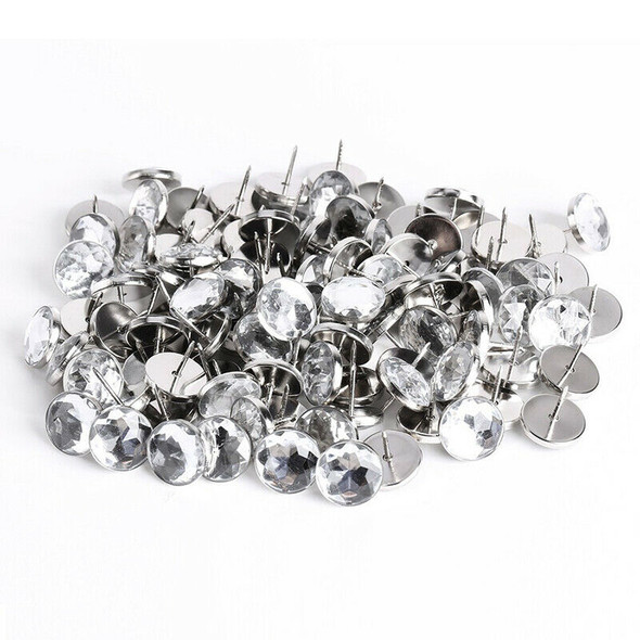 100 x 22MM Crystal Sofa Headboard Upholstery Nails Buttons Tacks S1Y6