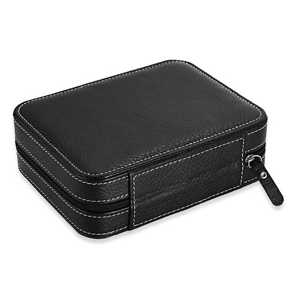 Black Zippered Watches Box Travel Case - Watch Organizer Collection - PU Le Q9G6