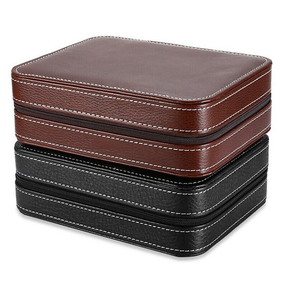 Black Zippered Watches Box Travel Case - Watch Organizer Collection - PU Le K4B2