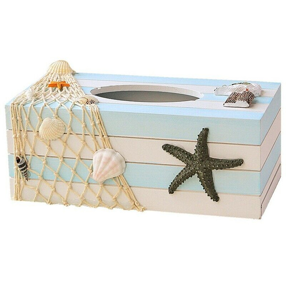 Wood Tissue Box Cover Shell Fishnet Beach Pumping Tray Tissue Holders (Star Z5K6