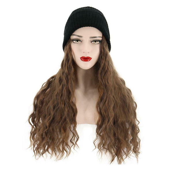 Women Synthetic Wig Beanie Wool Hat Fashion Wig Hair Extensions Brown Attached