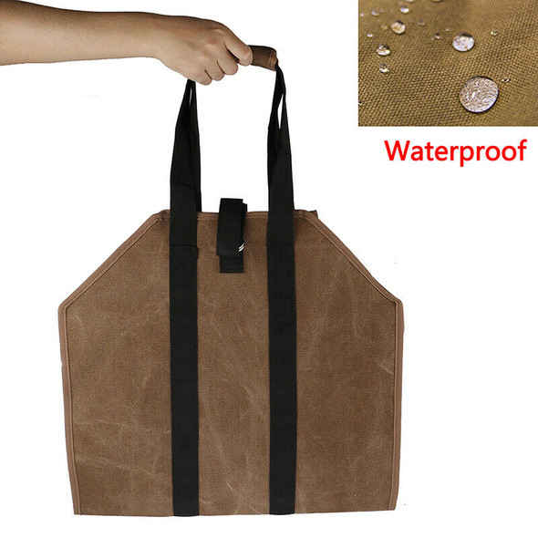 Firewood Carrier Log Carrier Wood Carrying Bag for Fireplace 16oz Waxed Canv&+