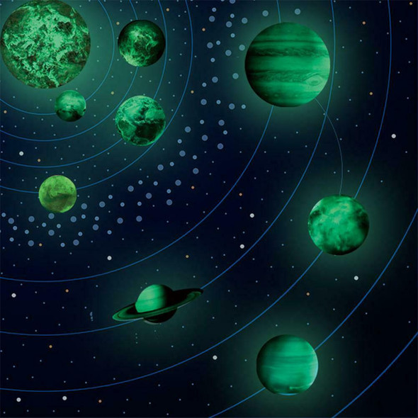 Glow In The Dark 30cm Wall Stickers Round Planets Star Luminous Kids Room D A#S