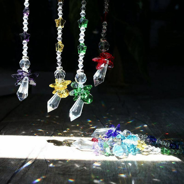 Chakra Crystal Suncatcher Glass Guardian Angel Rainbow Maker Collection Sun V3B6