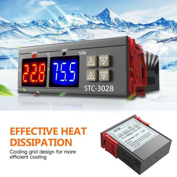 STC-3028 AC110-220V Dual LCD Temperature Humidity Controller Thermostat