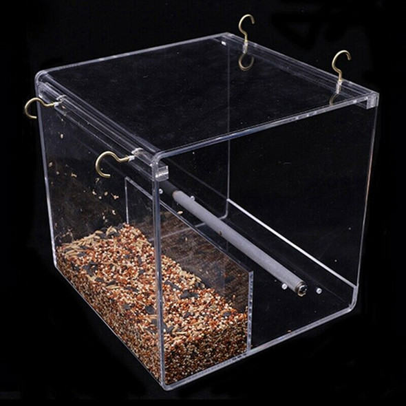 Automatic Parrot Bird Feeder No Mess Feeding Device Seed Food Container for Y3F2