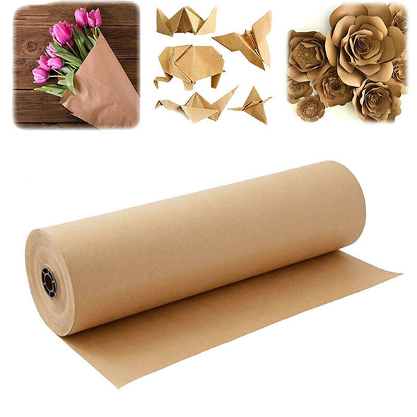 20M Brown Kraft Paper Roll for Wedding Birthday Party Gift Wrapping Craft P G6C5