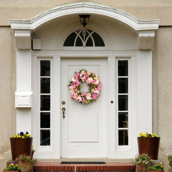 Artificial Flower Wreath Peony Wreath - 16inch Door Wreath Spring Wreath Ro U2S3