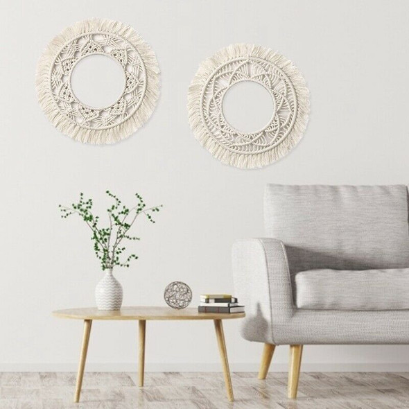 Wall-Mounted Mirror Lace Fringe 2 Sets Of Small Round Decorative Boho Mirro W9T2