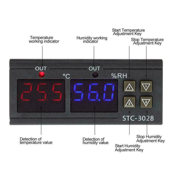 STC-3028 AC110-220V Dual LCD Temperature Humidity Controller Thermostat T3M5