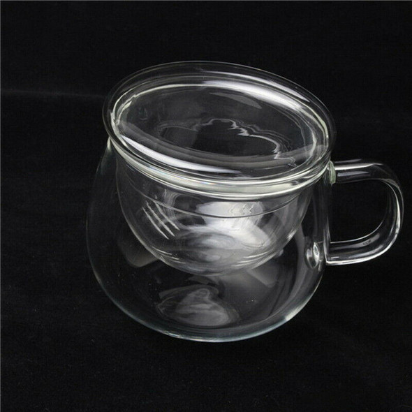 3X 350ml Heat Resistant Glass Round Shaped Tea Cup Flower Teacup w/Infuser JPG