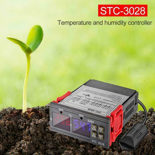STC-3028 AC110-220V Dual LCD Temperature Humidity Controller Thermostat G9N6