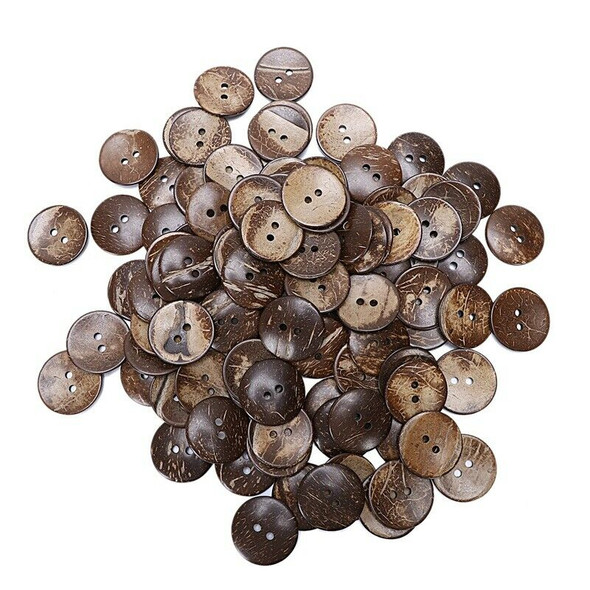 """100PCs Brown Coconut Shell 2 Holes Sewing Buttons Scrapbooking 44mm(1-3/4"""") K7U1"""