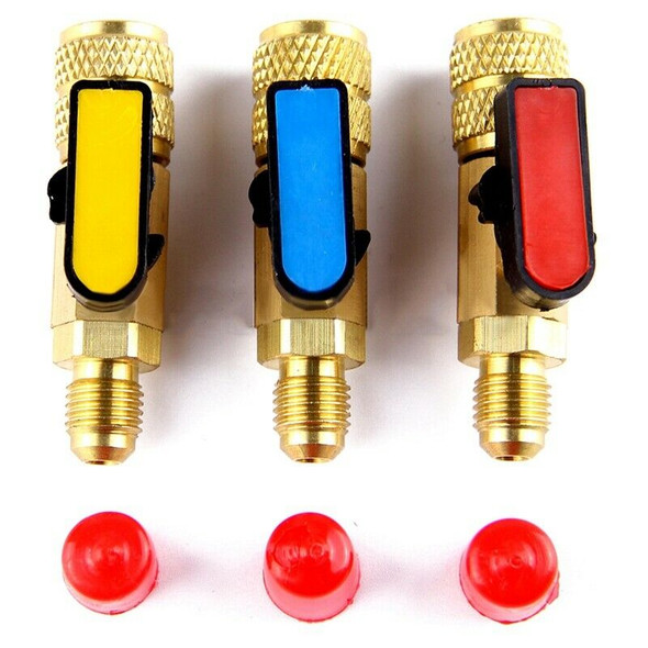 3Pcs/Lot Hvac Tools Gauges New 3 Color R410A Valves Refrigerant Adapter Ac  E4R1