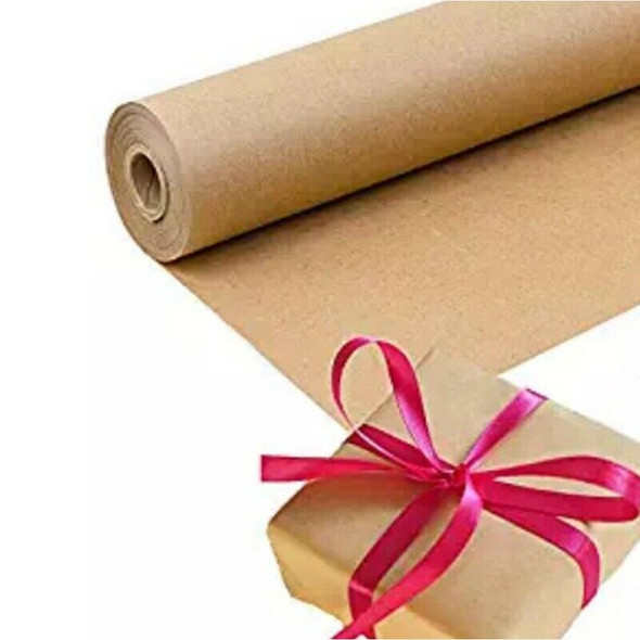 30 Meters Brown Kraft Wrapping Paper Roll For Wedding Birthday Party Gift W J5C2