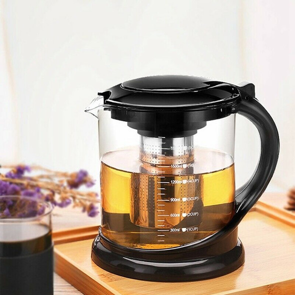 1800Ml Large Glass Tea Pot for Puer Tea Party Oolong with Stainless Steel T J1M5