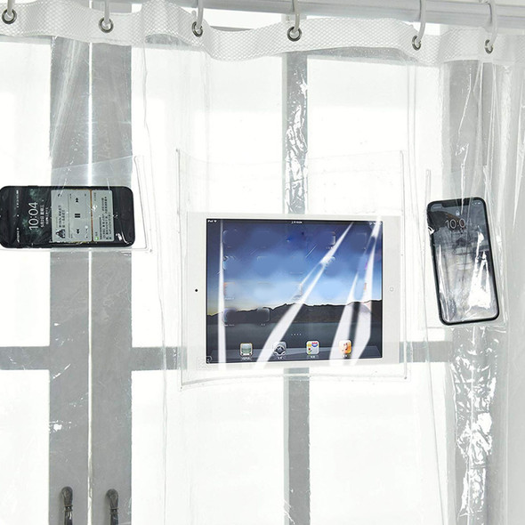 Premium Shower Curtain Liner with 12 Pockets Clear Bathroom Holder Mou KEV
