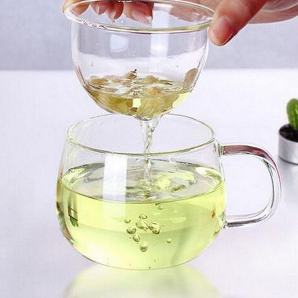 3X Heat Resistant Glass Round Shaped Tea Cup Flower Teacup w/Infuser & Lid OEG