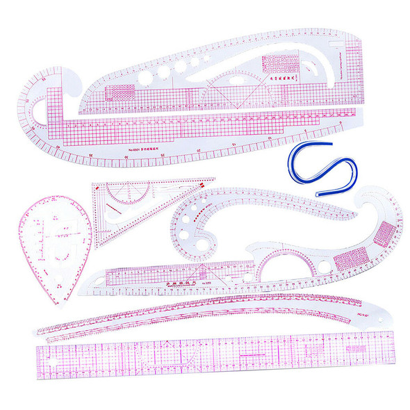 9Pcs Styling Design Drawing Comma Line Straight French Curve Multi Rulers