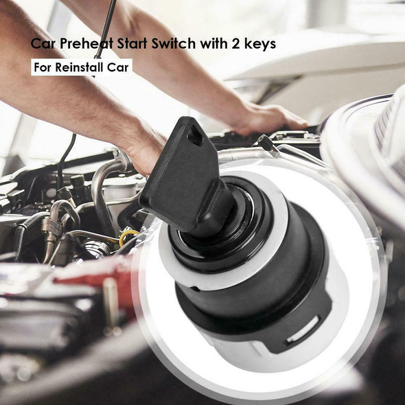 Car Preheat Start Switch with 2 keys Points Vehicle Ignition Lock with 9 Wiring