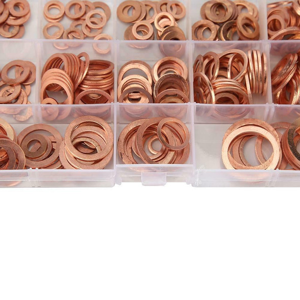 280pcs Solid Copper Washer Flat Ring Gasket Sump Plug Oil Seal Fittings #SFD