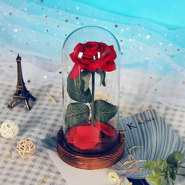 Eternal Rose Flower Red Silk Rose and LED Light with Fallen Petals in Glass E8Y6