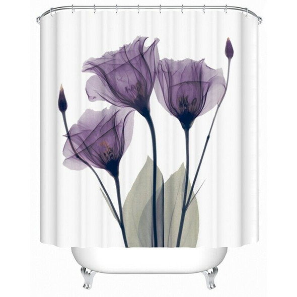 180x200Cm Flower Waterproof Shower Curtain Waterproof Polyester Fabric Bath F9B7
