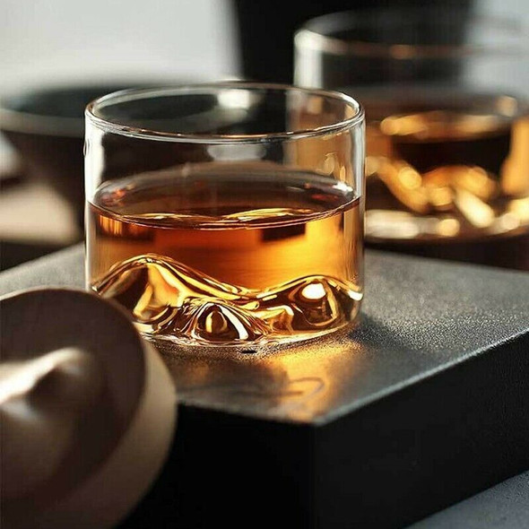 Irish Whiskey Wine Cup Small Mountain with Wooden Base Unique Gift Glass Cu U7N1