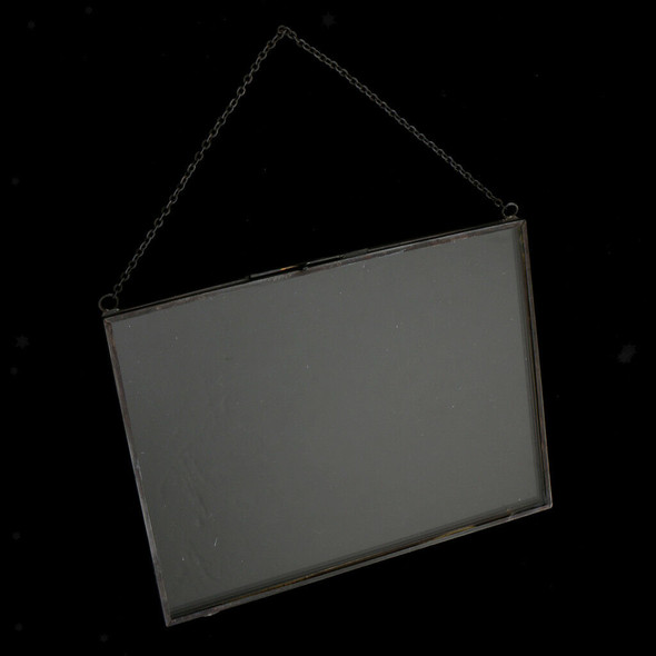 2 Sided Hanging Glass Display Frame for Photo Picture Specimen 25x15cm #B