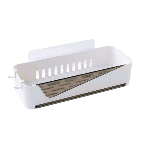 Perforated Storage Rack Shelf Wall-mounted Supplies For Home Bathroom Sink White