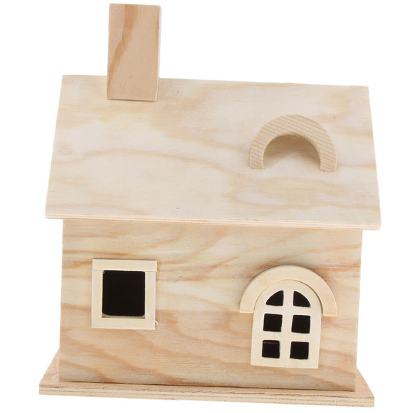 Wooden Bird House Perches Log Cabin for Indoor Cage Hanging Decoration