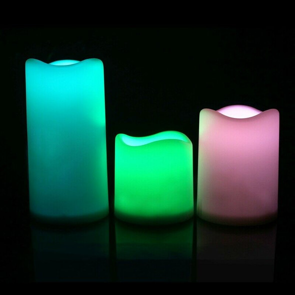 3Pcs Set LED Multicolored Flameless Electronic Candles Outdoor & Indoor Col Y9V5