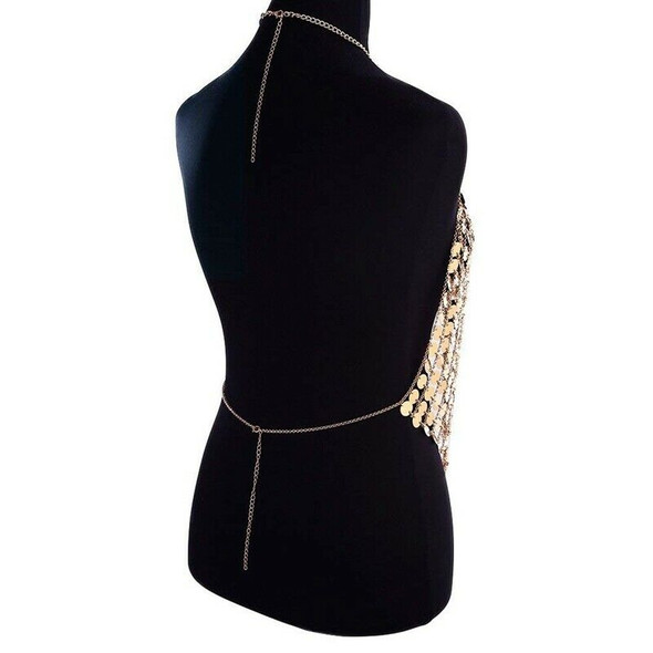 Women's Sexy Halter Backless Tank Top Bra Body Chain Necklace Tassels Party A7S5