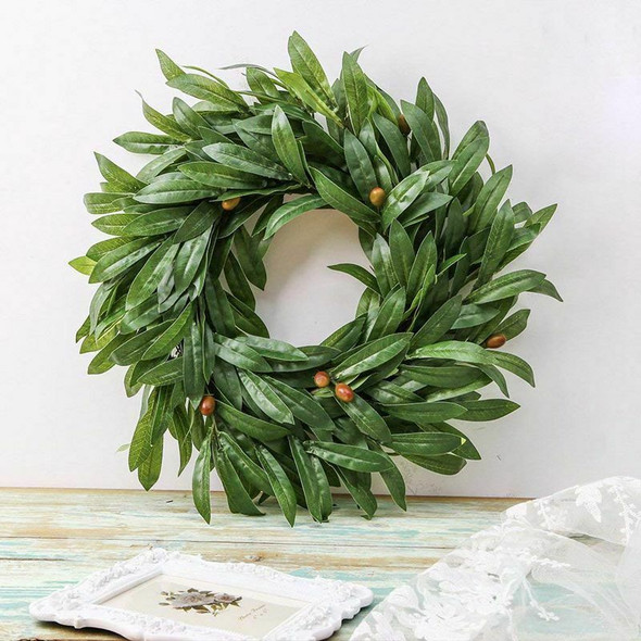 16 Inch Door Wreath Artificial Real Wicker Frame Faux Olive Leaves | UV Res X2Q9