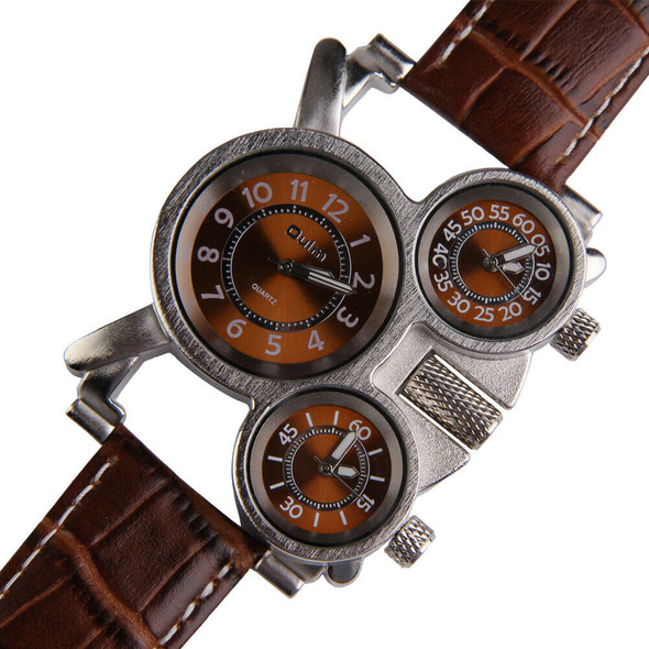 Oulm Men's Watch with Brown 3-Movt Dial Brown 23mm Stainless Steel Band Watches