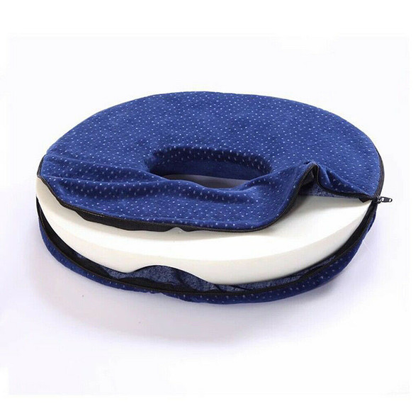 Inflatable  Bum Back Car Home Pressure Relief Ring Cushion Blue