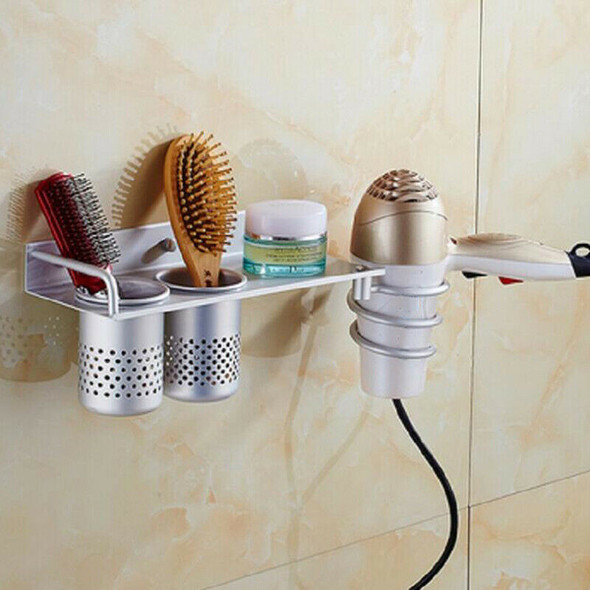 Hair Dryer Storage Rack Holder Wall Mounted Comb Stand bathroom/bedroom UseBX