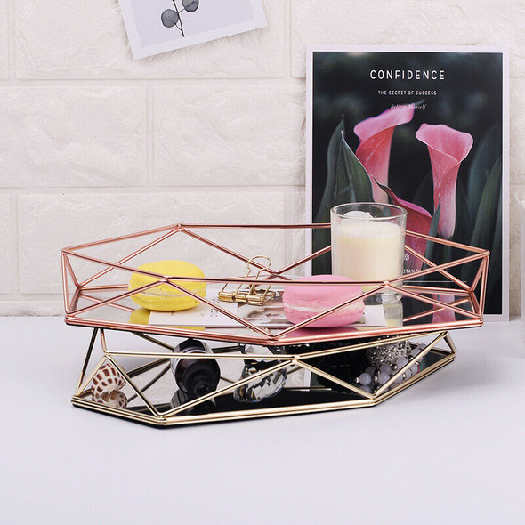Nordic Style Glass Copper Geometry Hexagon Storage Basket Boxes Simplicity  Z2V7