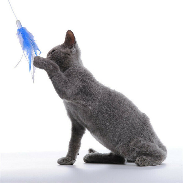 Cat Interactive Toys Electric Rotate Feather Toys Spinning Teaser Wand Moti V2T8
