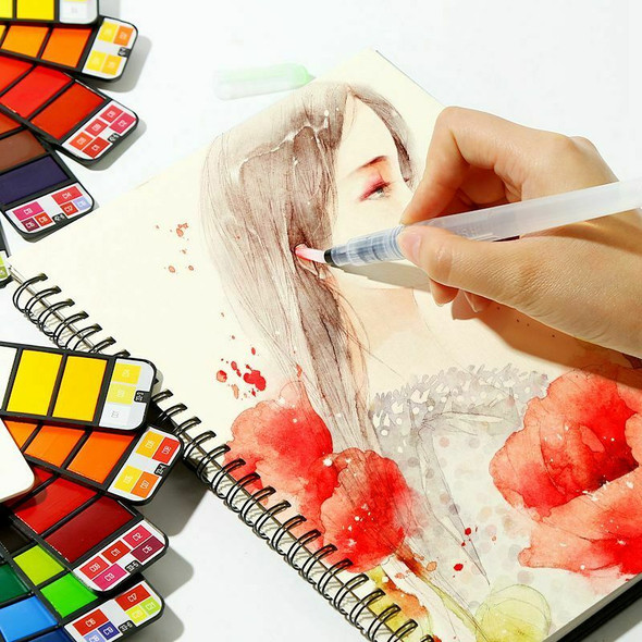 42 Colors Pigment Paints Set Solid Watercolor With Waterbrush For Drawing P U2U5
