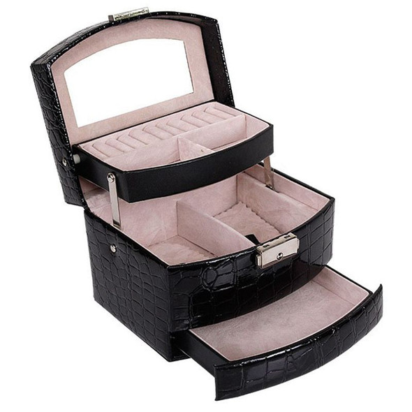 Automatic Leather Jewelry Box Three-layer Storage Box For Women Earring Rin R1G7